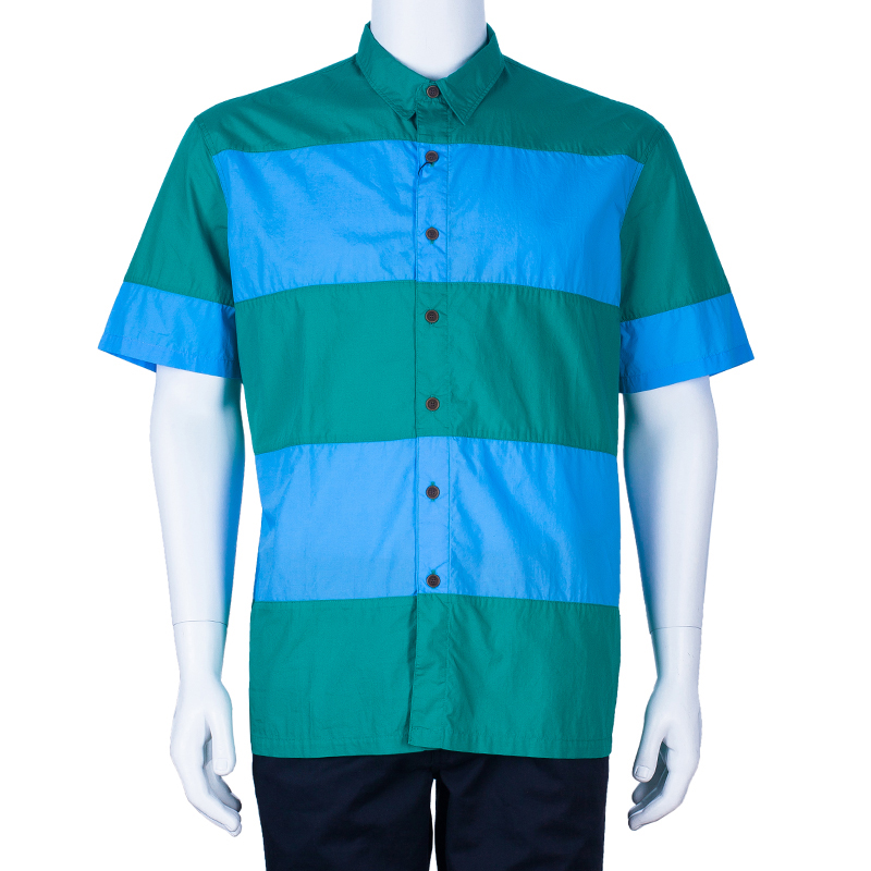 Burberry Men's Colorblock Cotton Shirt XL