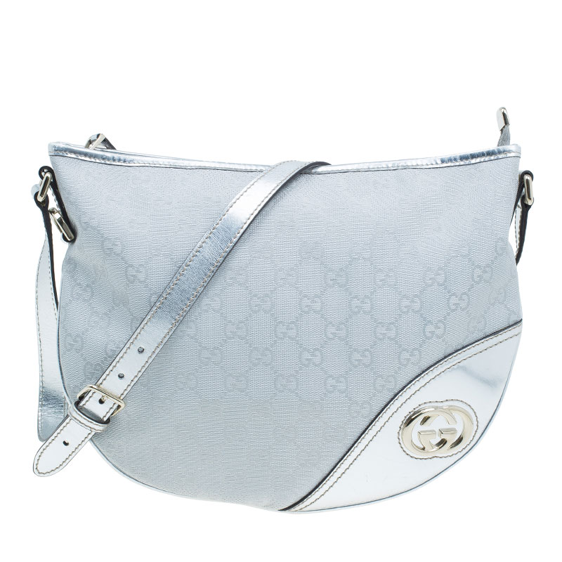 Gucci Silver Monogram Canvas Britt Messenger Bag