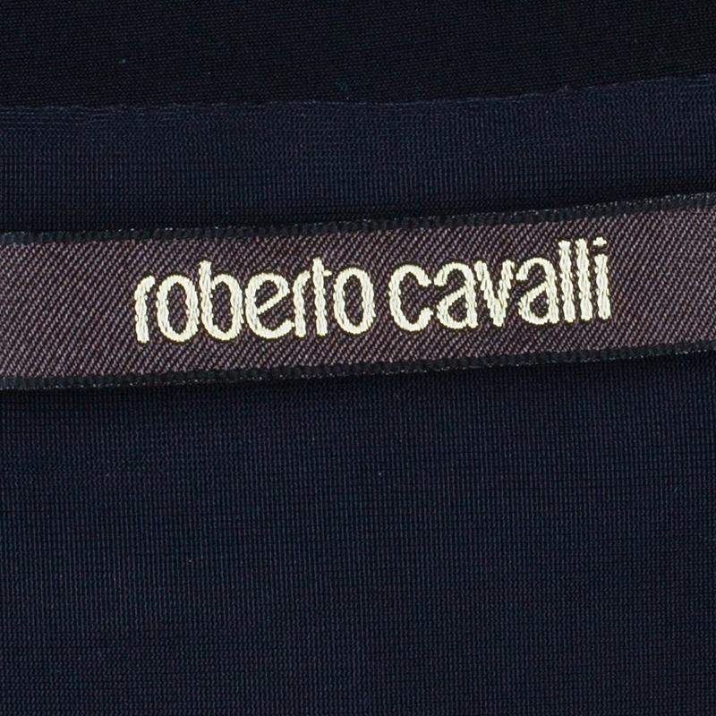 Roberto Cavalli Monochrome Silk Printed Top M