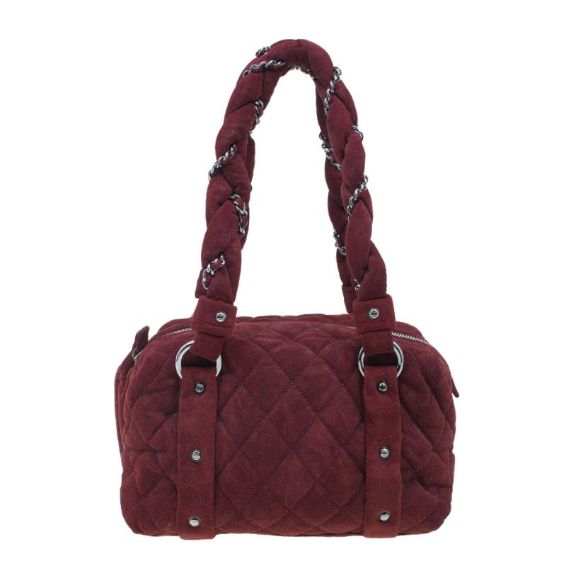 Chanel Burgundy Suede Lady Braid Satchel Bag