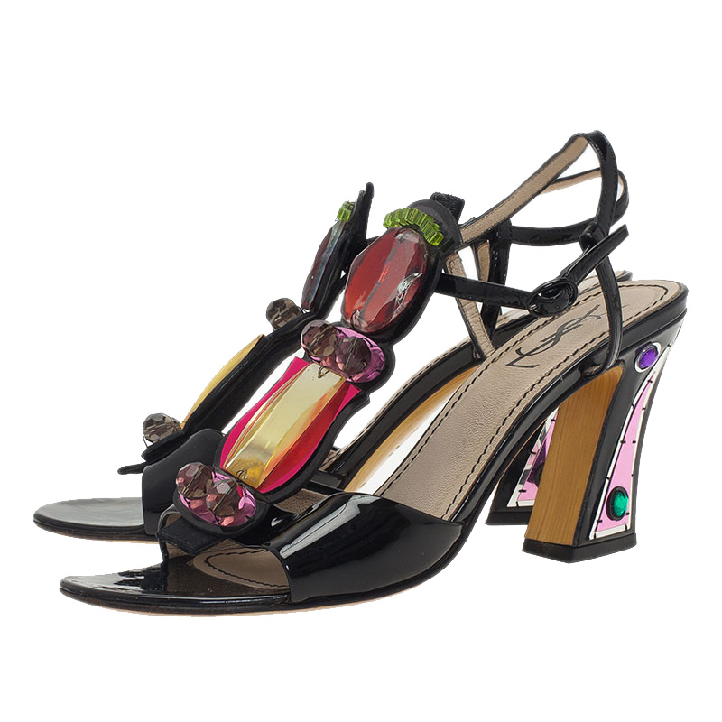 Saint Laurent Paris Multicolor Embellished Block Heel Sandals Size 37.5