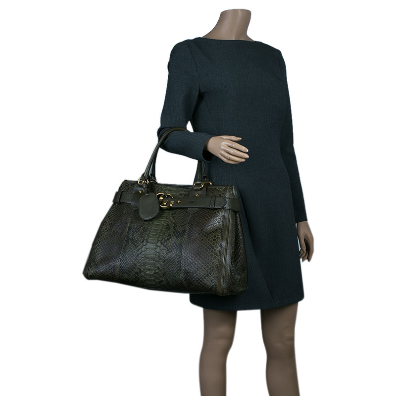 Gucci Army Green Python Large GG Running Tote Bag