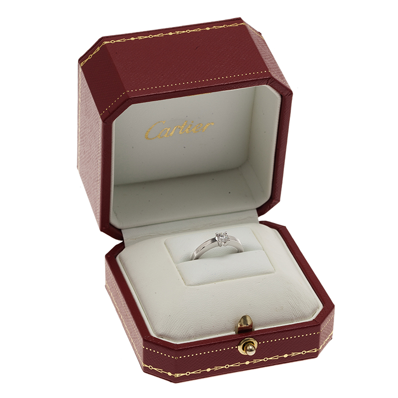 Cartier Declaration Solitaire 0.23 ct E VVS1 Diamond Platinum Ring Size 46
