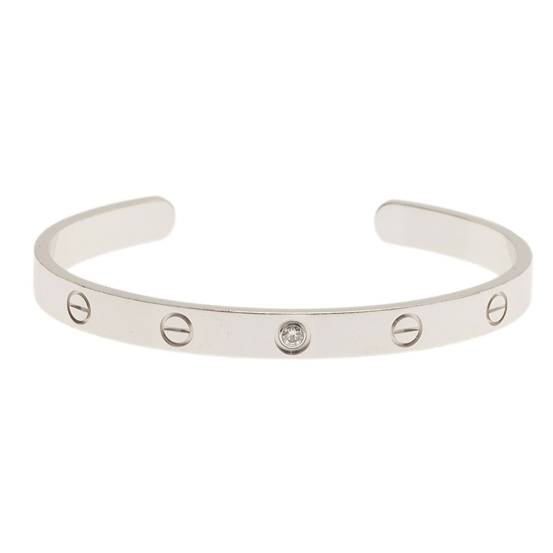 Cartier Love 1 Diamond White Gold Open Cuff Bracelet