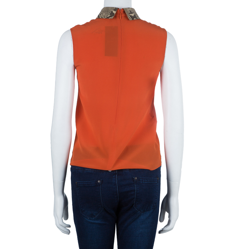 Gucci Orange Snakeskin Collar Sleeveless Top XS