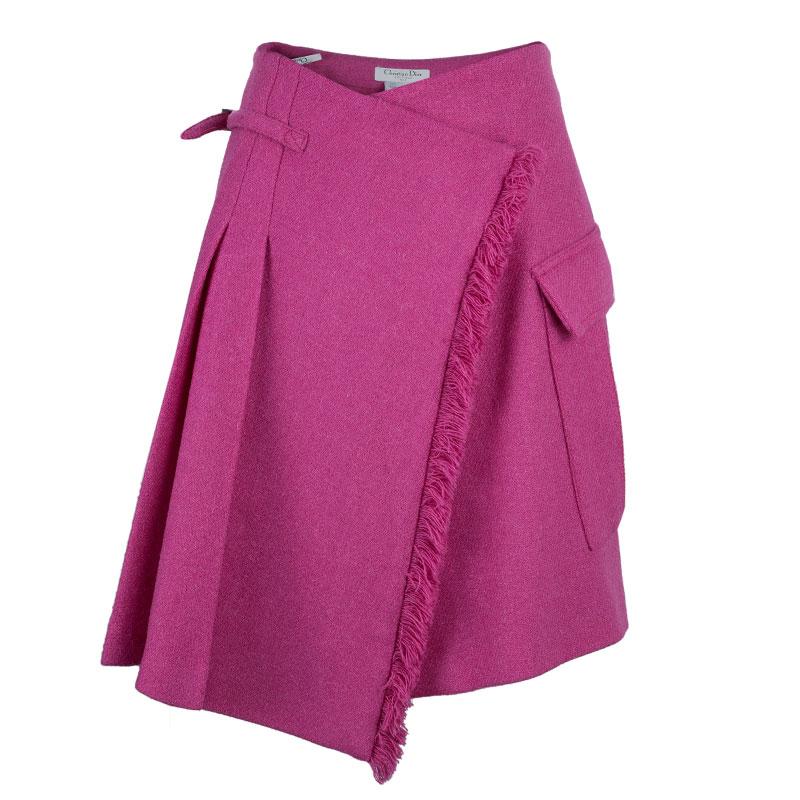 Dior Fuschia Pink Wool Skirt M