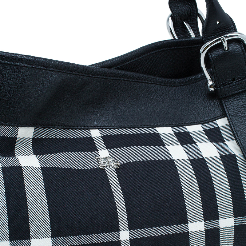 Burberry Black and White large Shopping Tote bag