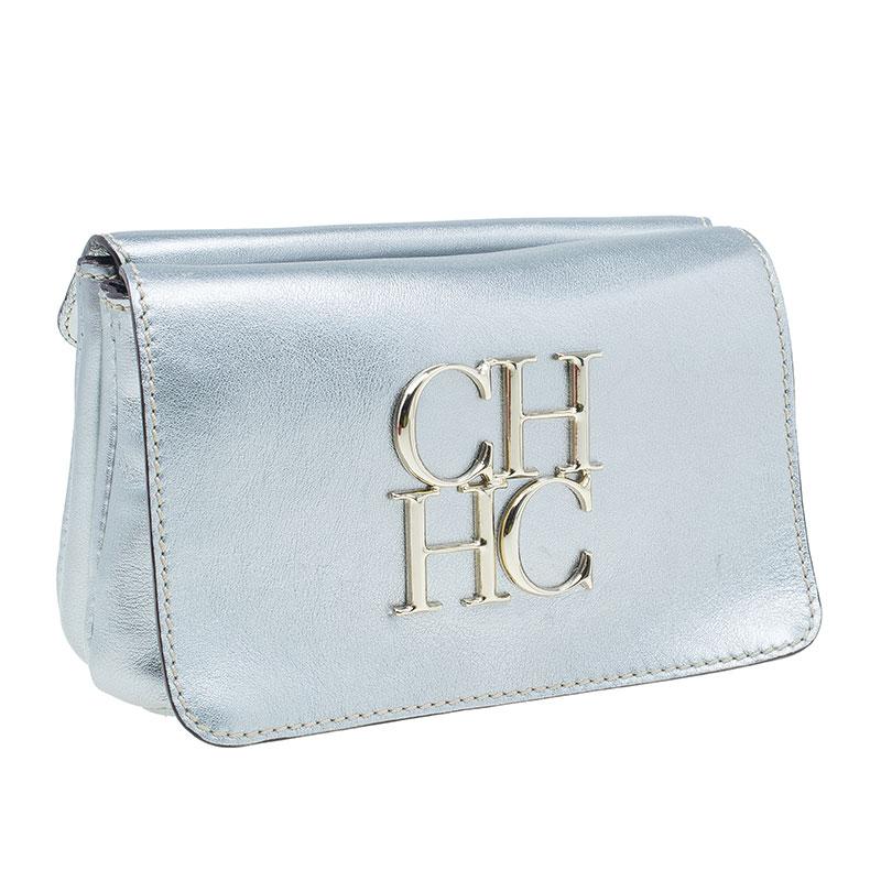 CH Carolina Herrera Silver Leather Clutch
