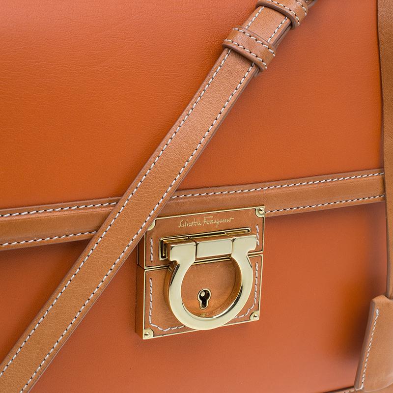 Salvatore Ferragamo Orange Bi Color Leather Marisol Shoulder Bag