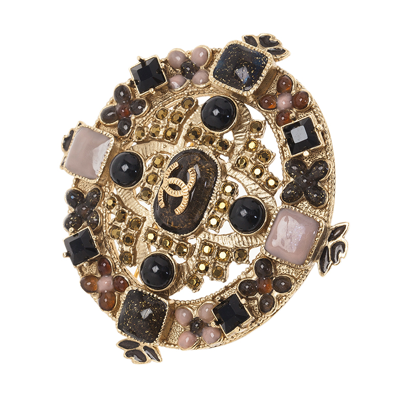Chanel CC Cross Multi Color Crystal Gold Tone Brooch