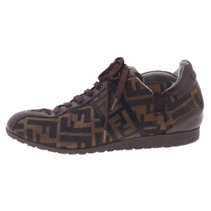 Fendi Tobacco Zucca Canvas Lace Up Sneakers Size 37.5