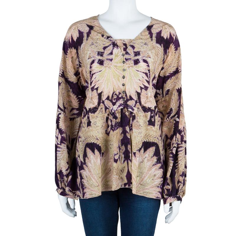 Roberto Cavalli Chiffon Oversized Silk Printed Top M