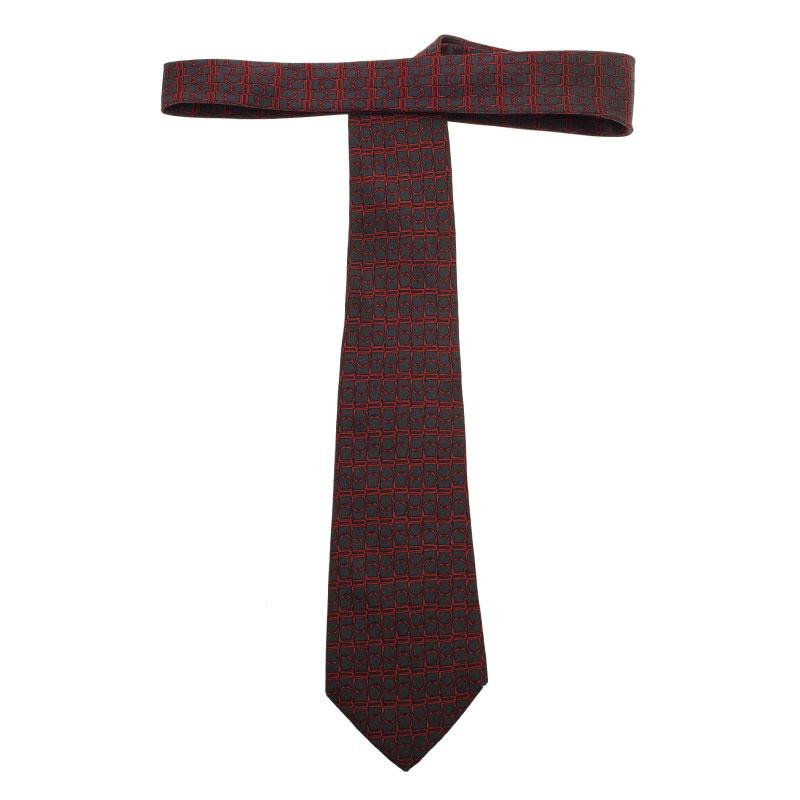 Hermes Grey and Red Printed Silk Tie