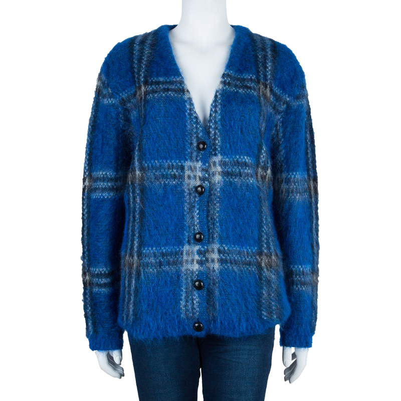 Saint Laurent Paris Blue Plaid Sweater M