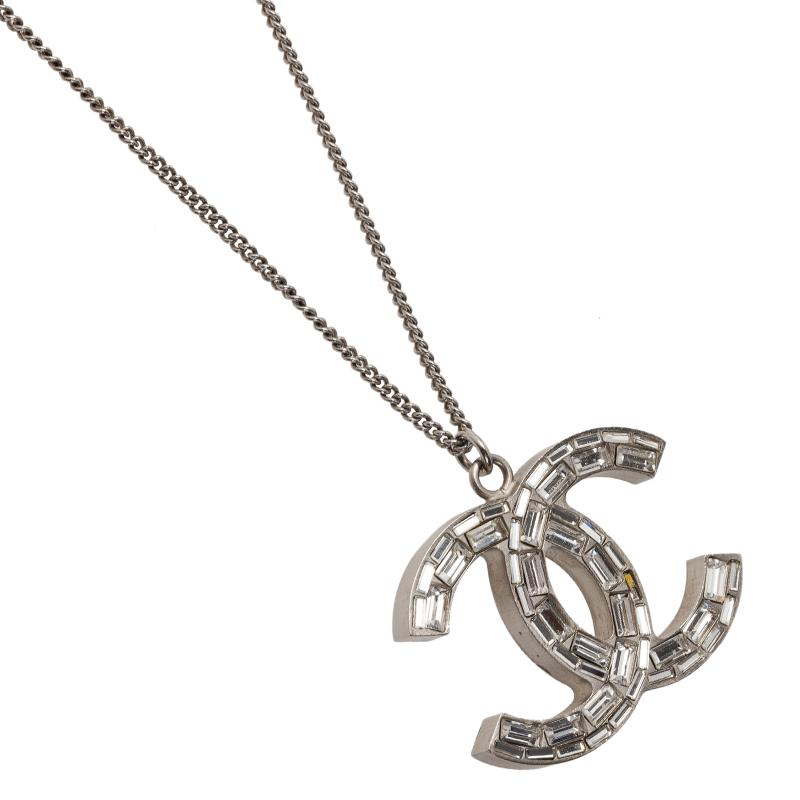 Chanel CC Crystal Silver Tone Pendant Necklace