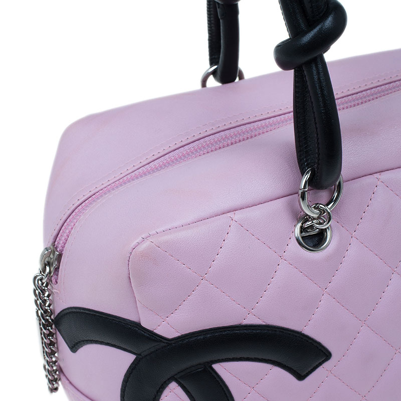 Chanel Pink Quilted Leather Cambon Ligne Bowler Bag