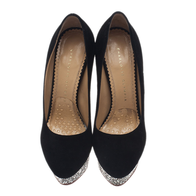 Charlotte Olympia Black Suede Dolly Platform Pumps Size 37