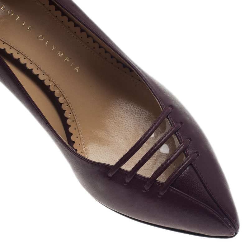 Charlotte Olympia Burgundy Leather Anna Pointed Toe Pumps Size 36