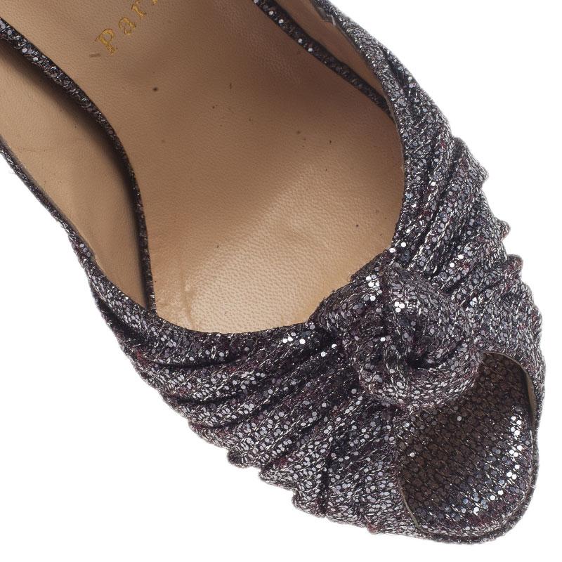 Christian Louboutin Black Glittered Jenny Platform Slingback Sandals Size 39