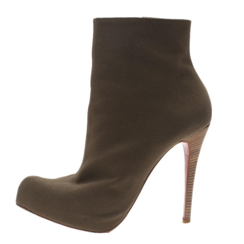 Christian Louboutin Green Canvas Boots Size 42