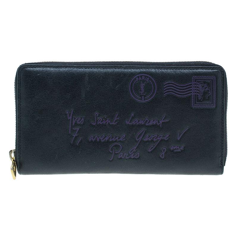 Saint Laurent Paris Black Y-Mail Patent Zip Wallet