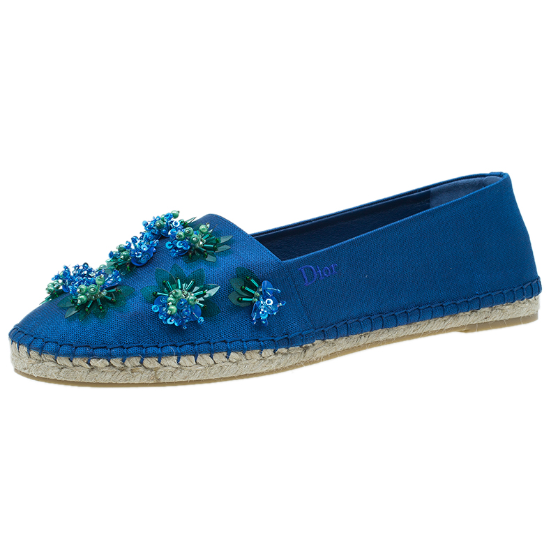 Dior Blue Embellished Fabric Espadrilles Size 40