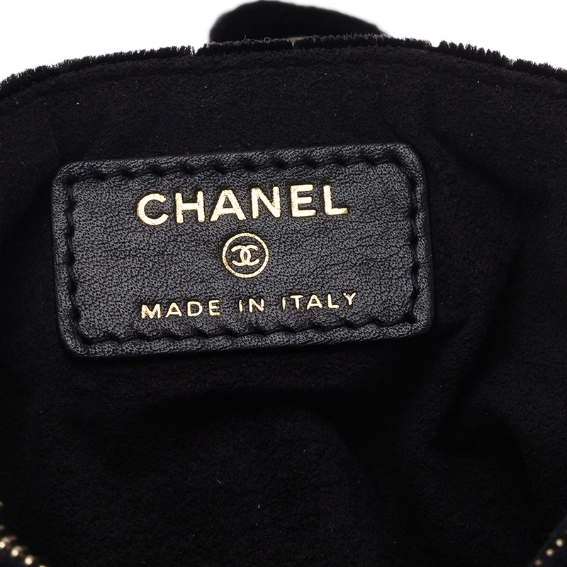 Chanel Black Quilted Velvet Phone Pouch