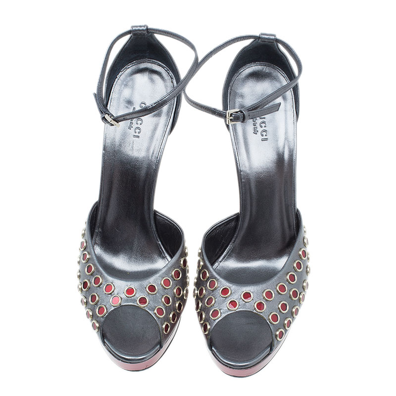 Gucci Grey Metallic Eyelet Ankle Strap Sandals Size 40