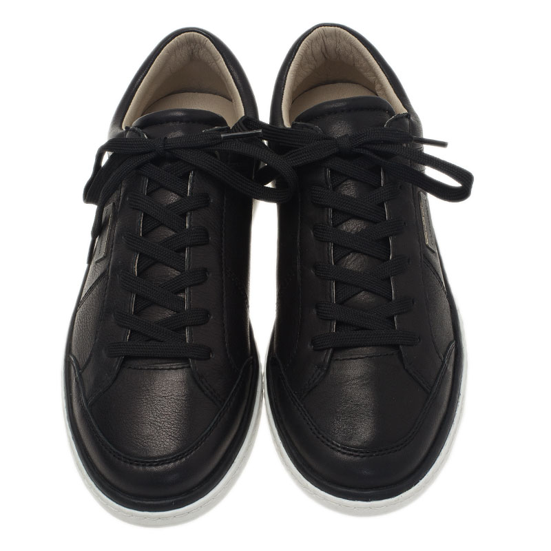 Dolce and Gabbana Black Leather Logo Plaque Sneakers Size 40