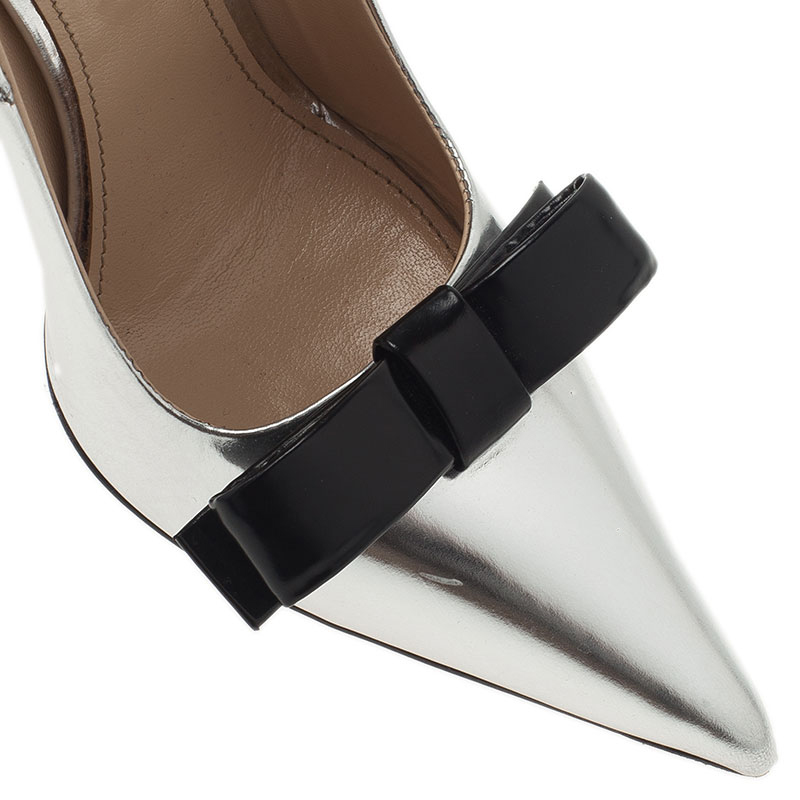 Prada Silver Metallic Leather Bow Pointed Toe Pumps Size 35.5