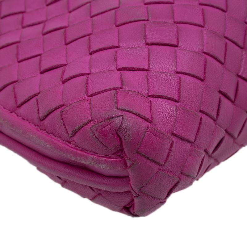 Bottega Veneta Pink Intrecciato Woven Leather Crossbody Bag