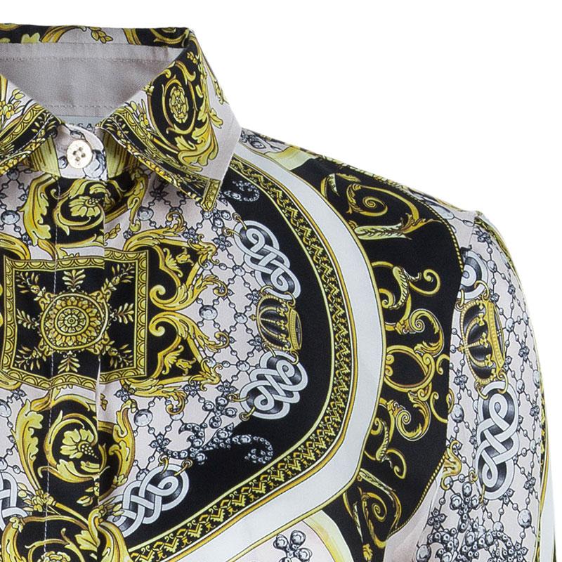 Versace Multicolor Silk Shirt Dress M