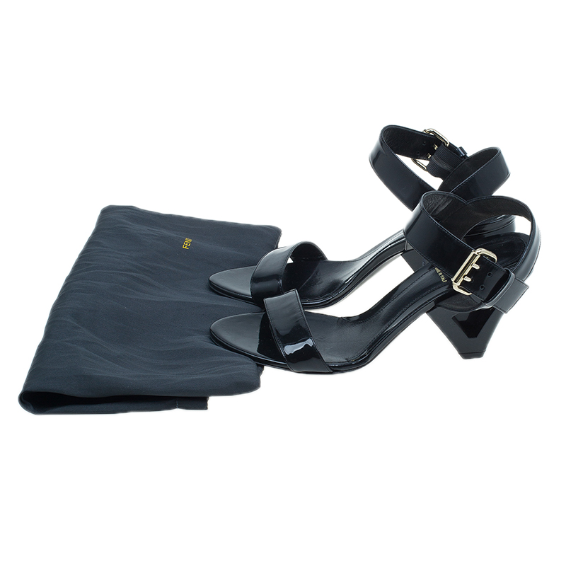 Fendi Black Leather Ankle Strap Flat Sandals Size 37.5