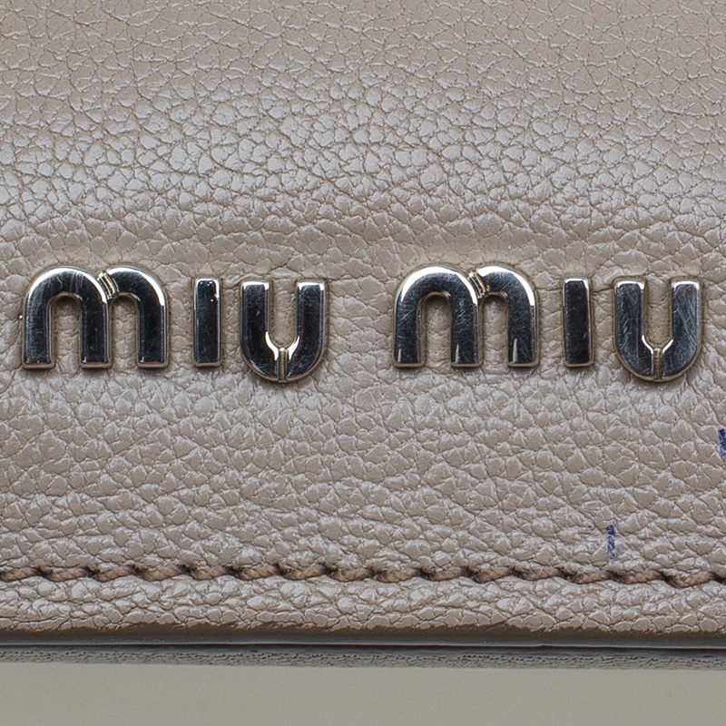 Miu Miu Grey Bi Color Leather Madras Crossbody Bag