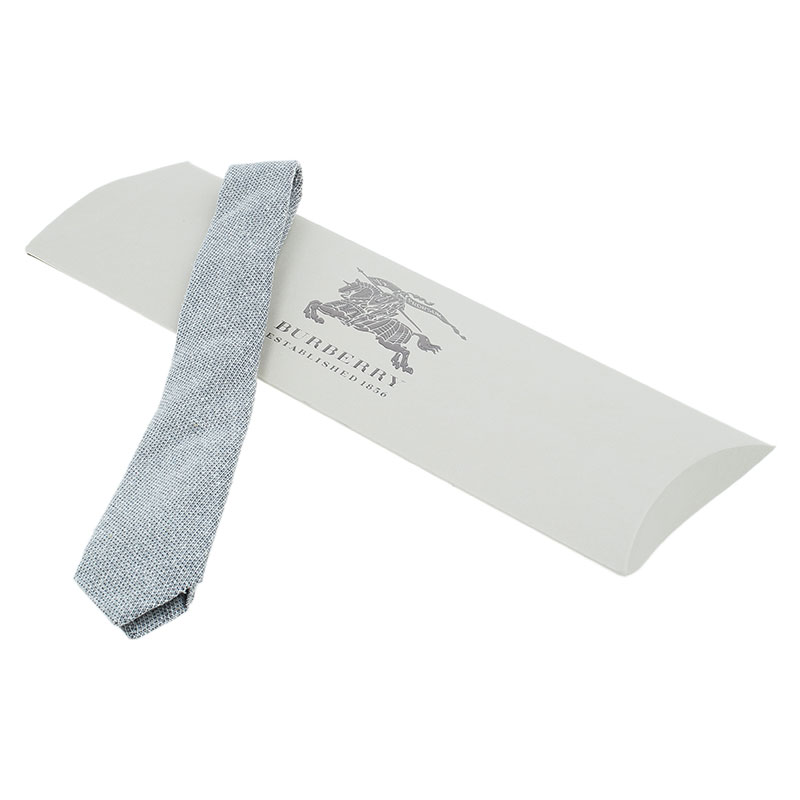 Burberry White and Grey Textured Silk Tie