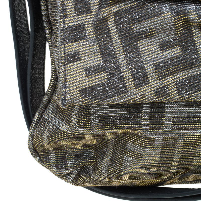 Fendi Metallic Gold/Silver Canvas Glitter Jacquard Mia Zucca Flap Bag