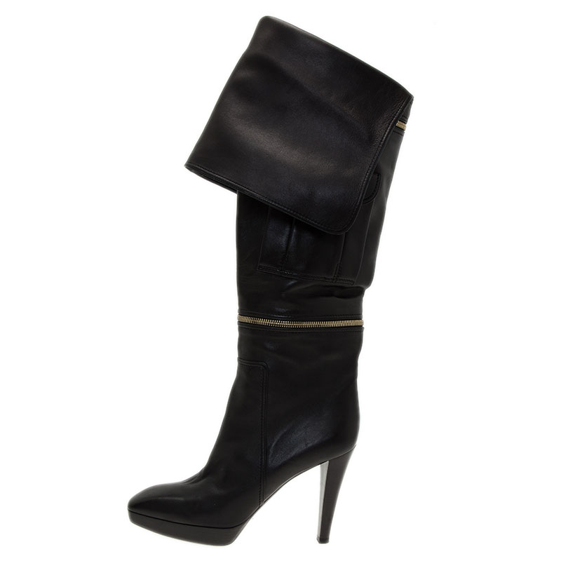 Louis Vuitton Black Leather Zip and Pocket Detail Tall Boots Size 40