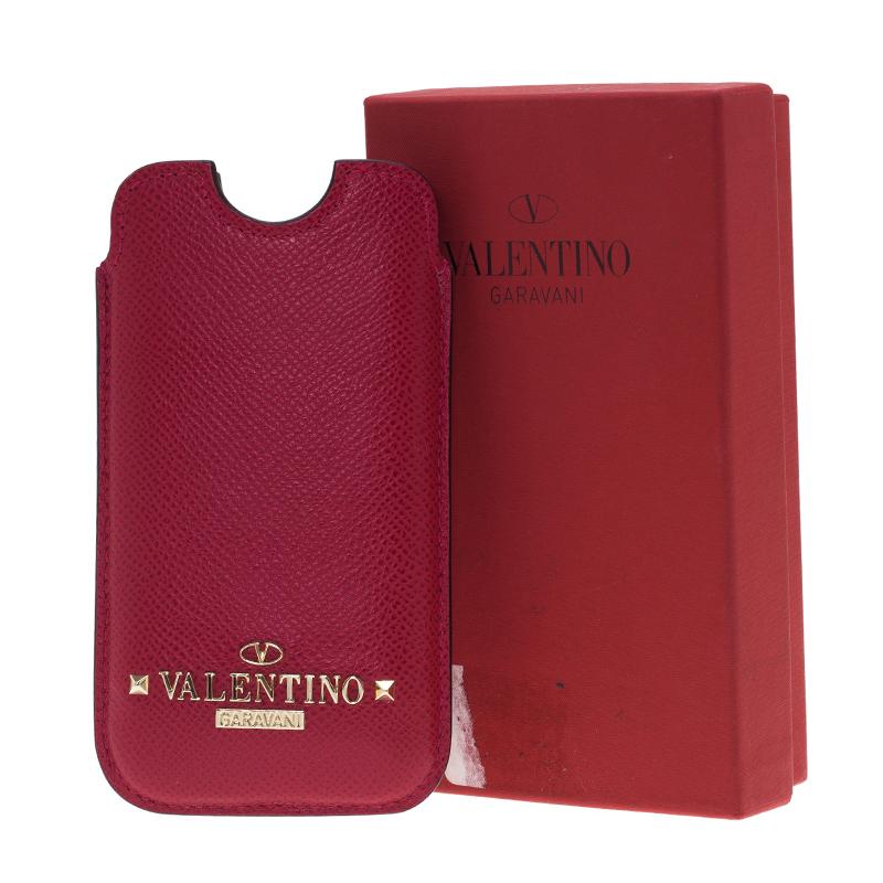 Valentino Dark Pink Leather Rockstud iPhone 5/5S Case