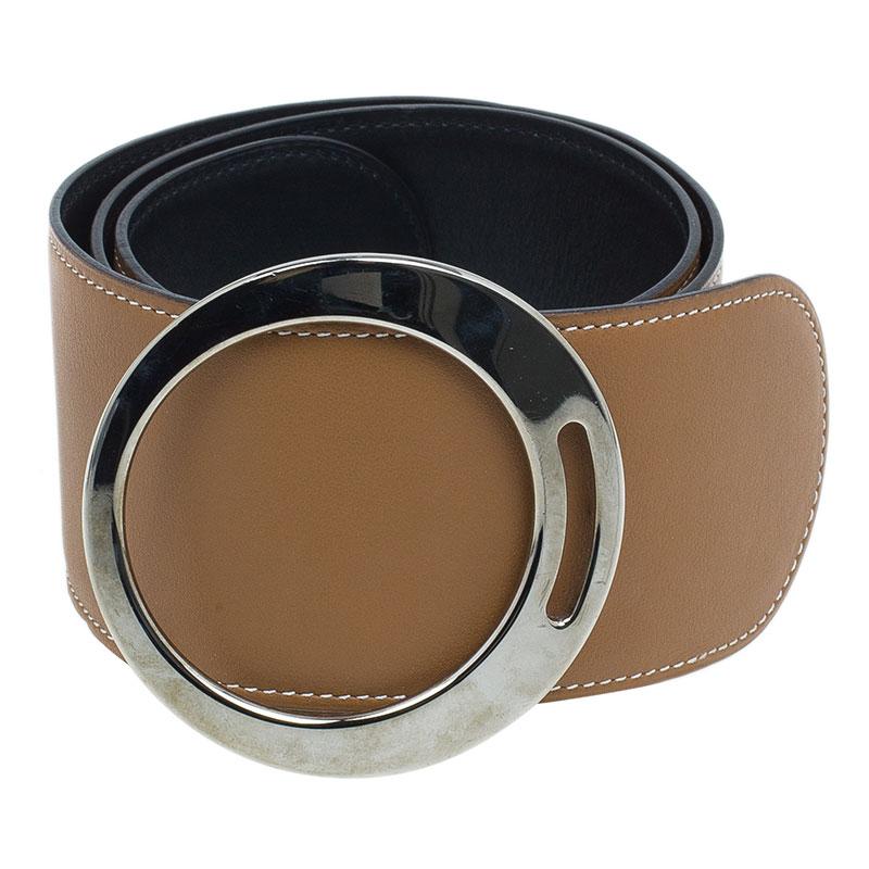 Hermes Brown Leather Broad Belt 75 CM