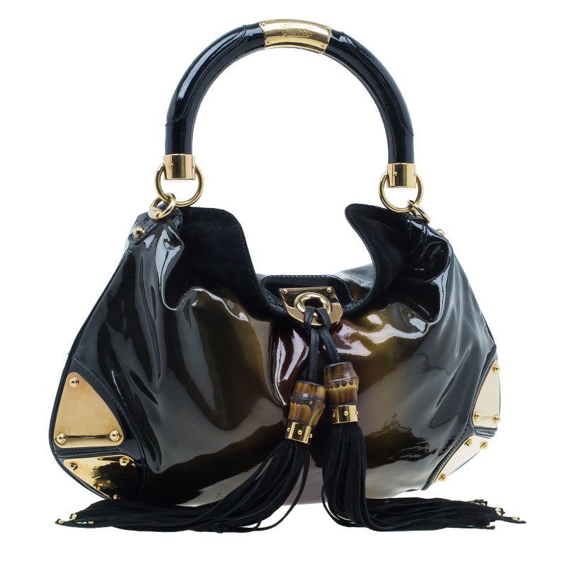 Gucci Metallic Brown Patent Leather Indy Hobo