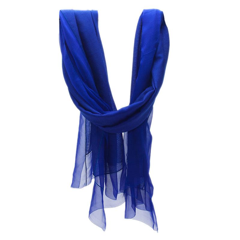Dior Blue Chiffon and Cotton Blend Stole