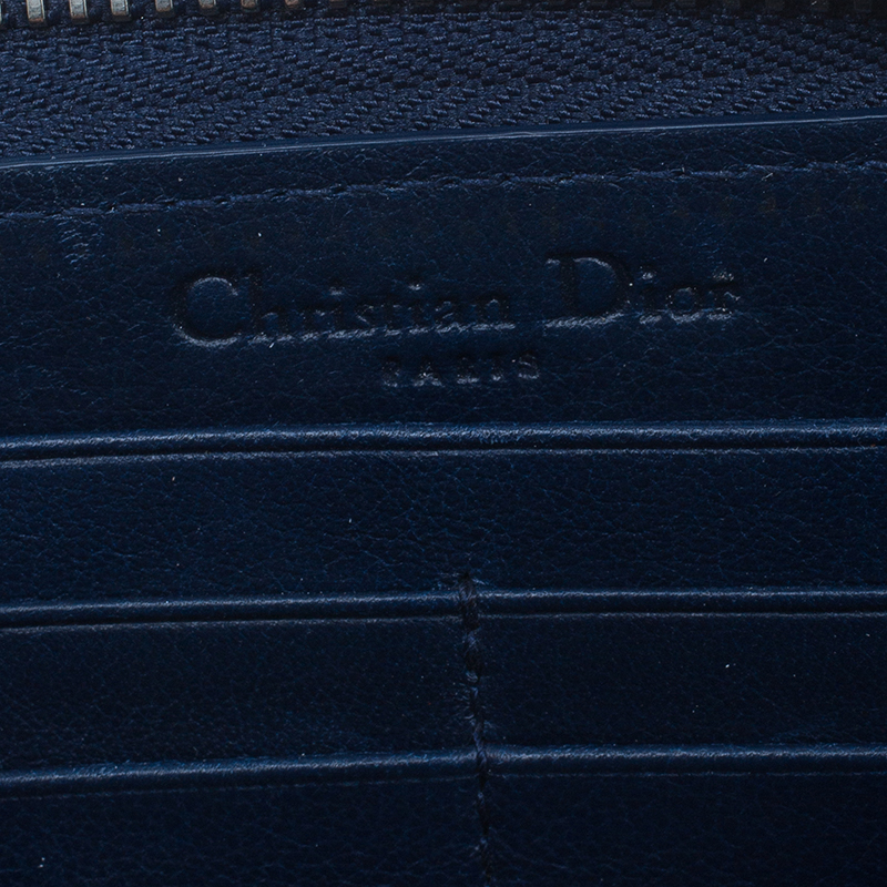 Dior Navy Blue Patent Quilted Cannage Leather Zip Around Wallet