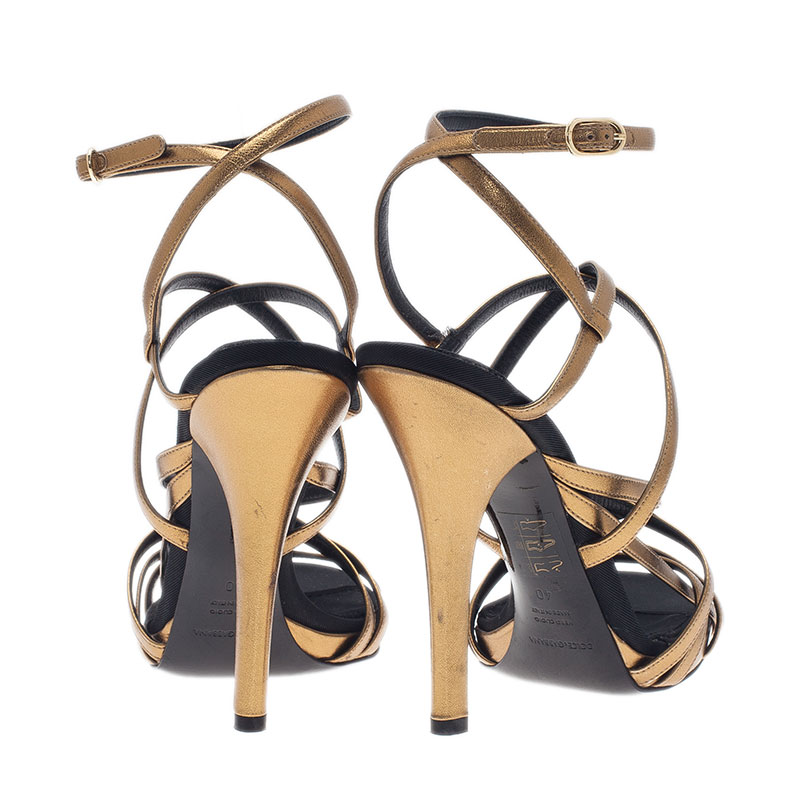 Dolce and Gabbana Gold Leather Strappy Platform Sandals Size 40.5