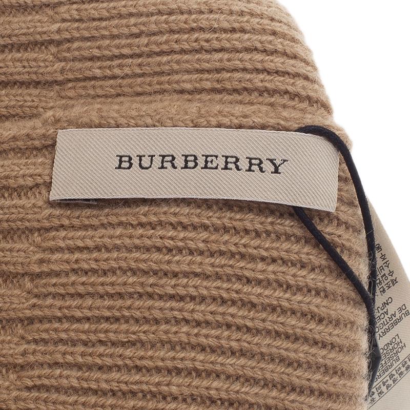 Burberry Beige Cashmere Rib Knit Beanie