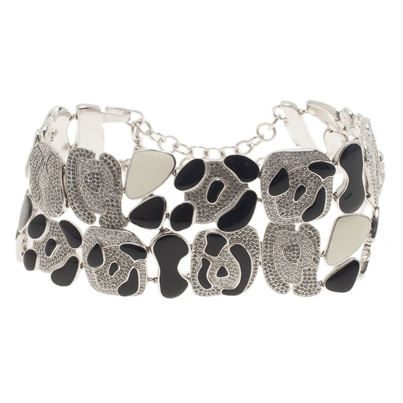 Dior Animalia Crystal Black And White Enamel Silver Tone Necklace