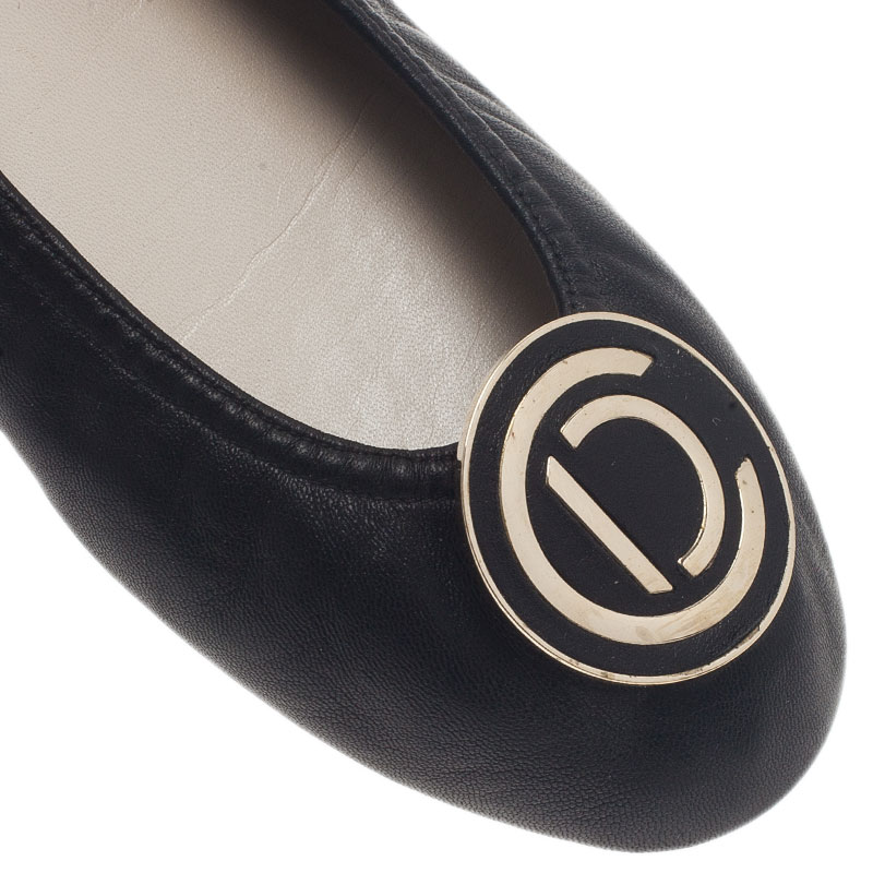 Dior Black Leather 'CD' Logo Ballet Flats Size 38.5