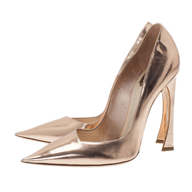 Dior Gold Mirror Leather Pointed Toe Pumps Size 41