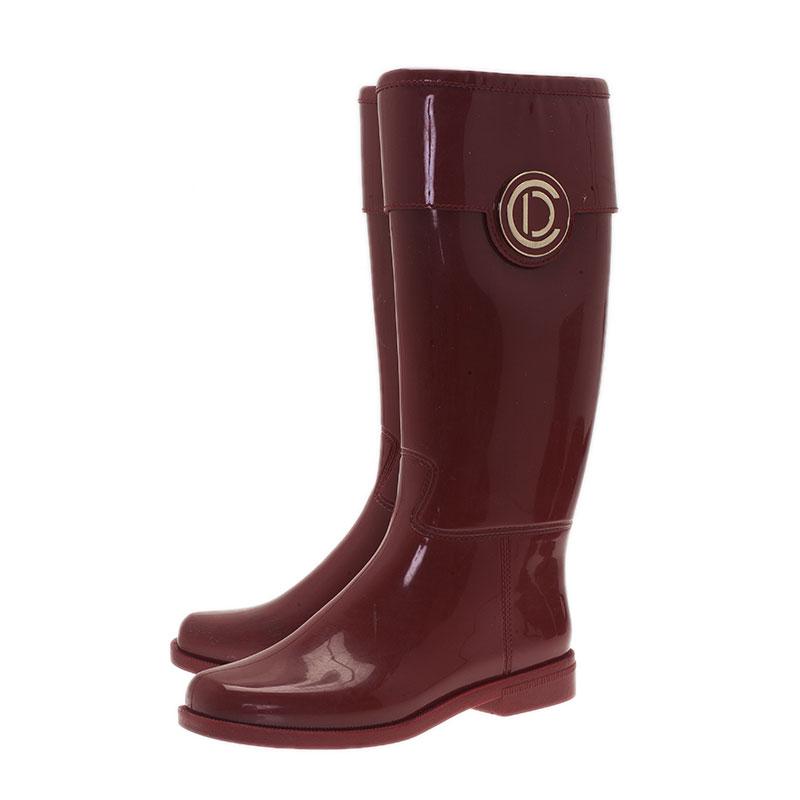 Dior Red Patent Trim Rubber Logo Rainboots Size 38