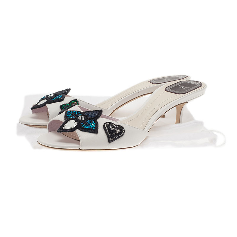 Dior White Leather Sequin Flower Slides Size 40