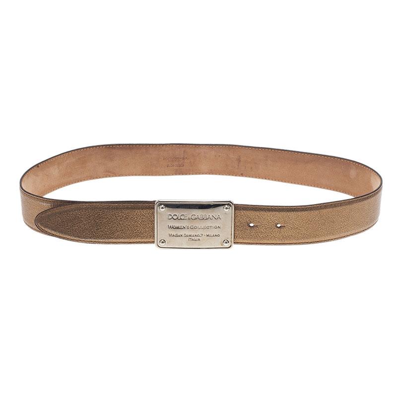 Dolce and Gabbana Gold Metallic Leather Logo Plaque Skinny Belt 85CM